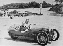 Morgan 3 wheeler. Tommy Rhodes at Brooklands 1934